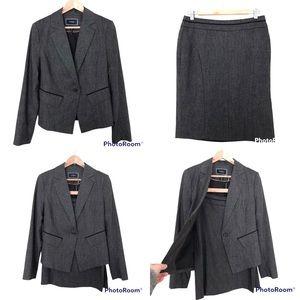 Le Chateau Wool Blend Suit / Skirt Set Blazer + Skirt